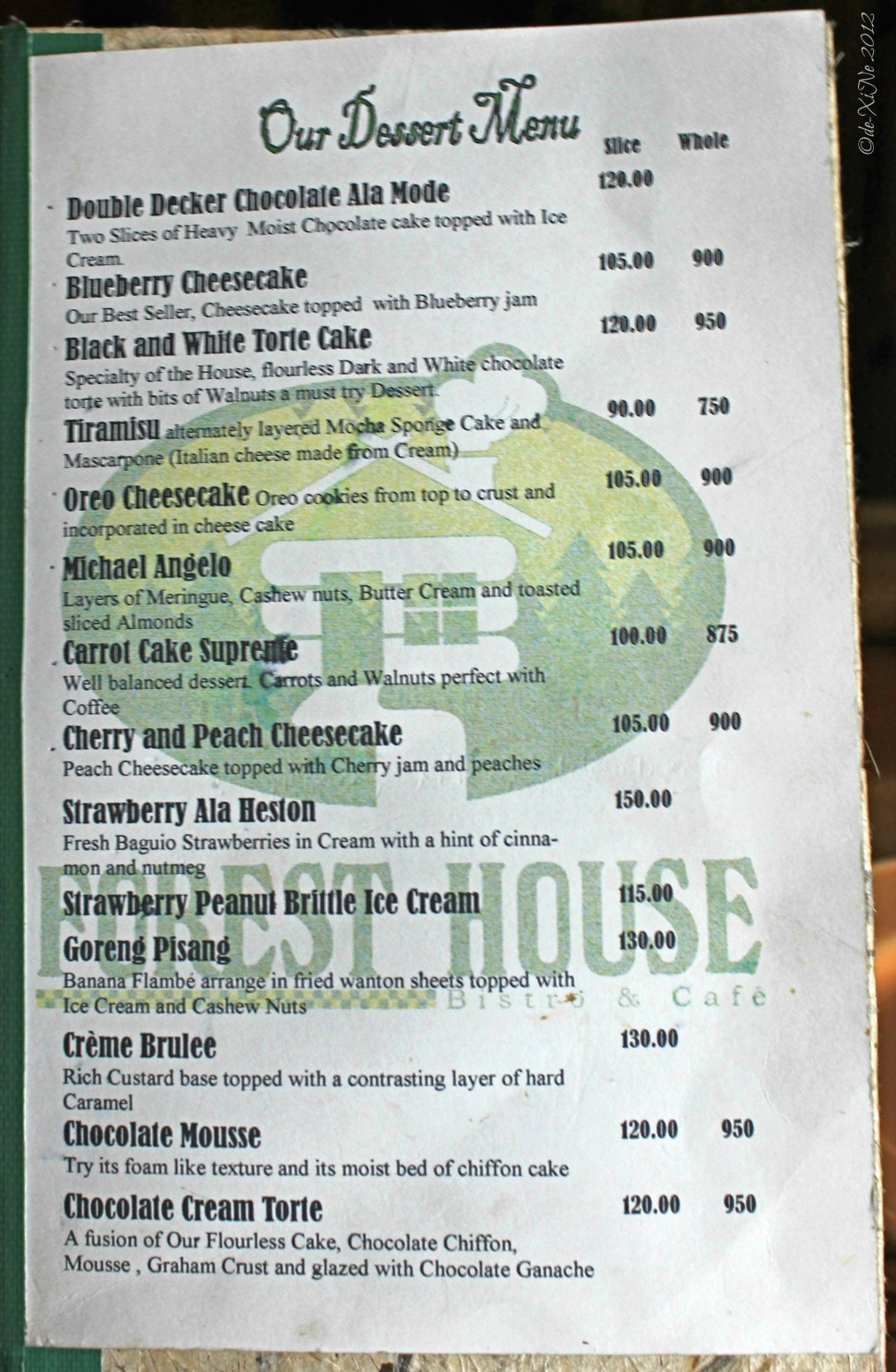 Forest House dessert menu