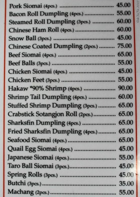 Mr. Ching Dimsum Menu