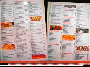 Future Diner menu