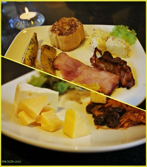 Dinelli's Gourmet, Of French Toast, Potatoes and Potato Salad, Roast Ham and Bacon, and Cheese =)
