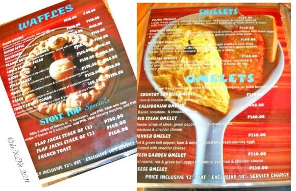 Baguio House of Waffles menu