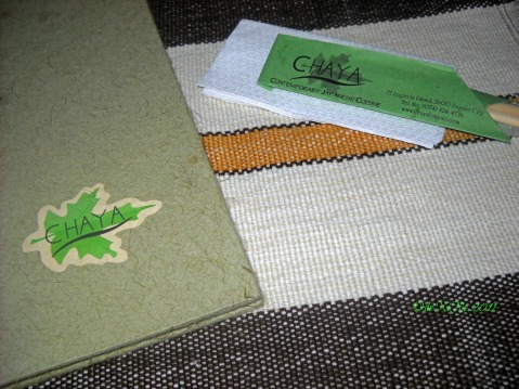 Chaya menu and chopsticks