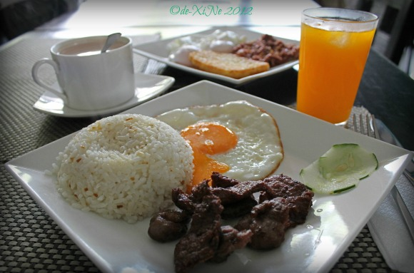 Cafe Sorelle breakfast spread - beef tapa