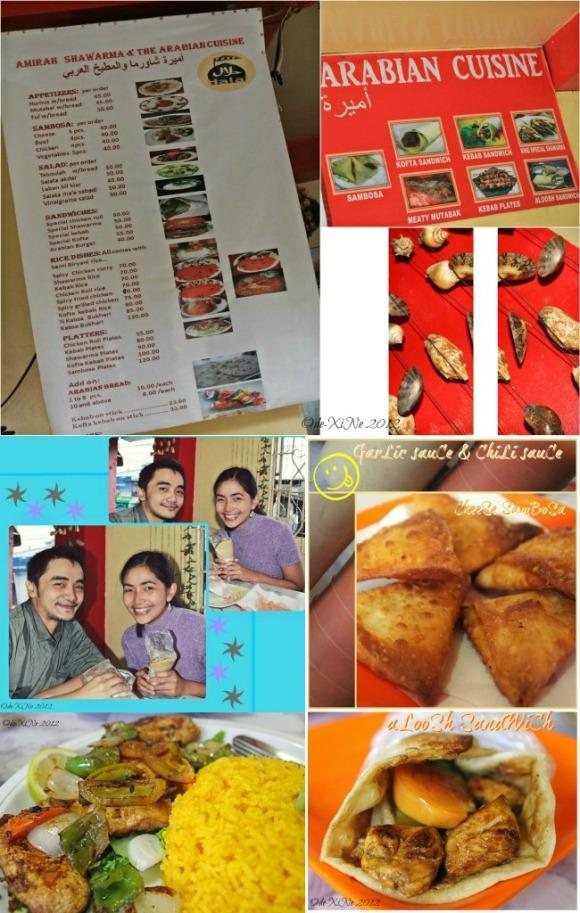 Amirah's menu, sambosa, aloosh sandwich, spicy grilled chicken and us