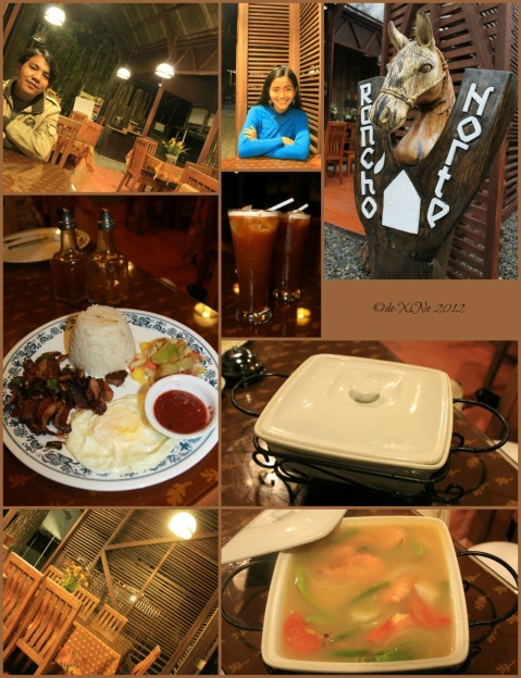 Rancho Norte scene, tapang usa, sinigang na hipon and drinks