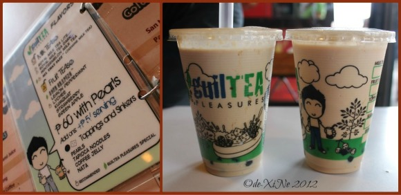 Guiltea menu, royal milk tea dark and all that jazz tea