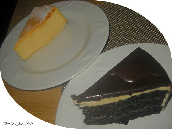 Hill Station New York cheesecake and deep dark chocolate cake