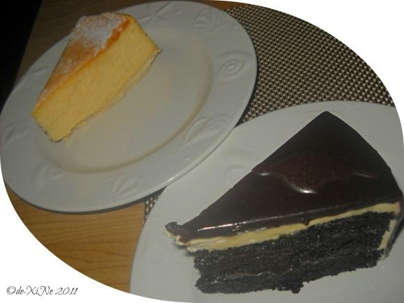 Hill Station New York cheesecake and deep dark chocolate cake