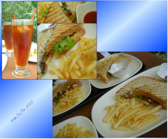 Mr. Bean's Cafe/Lavazza Coffee BLT fries and iced tea