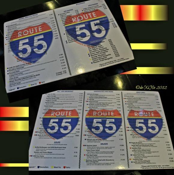 Route 55 menu