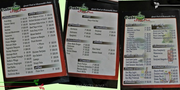 Cafe Sapore menu