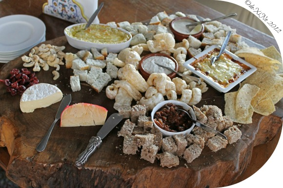 Mama's Table board of bread, chips, spreads and dips