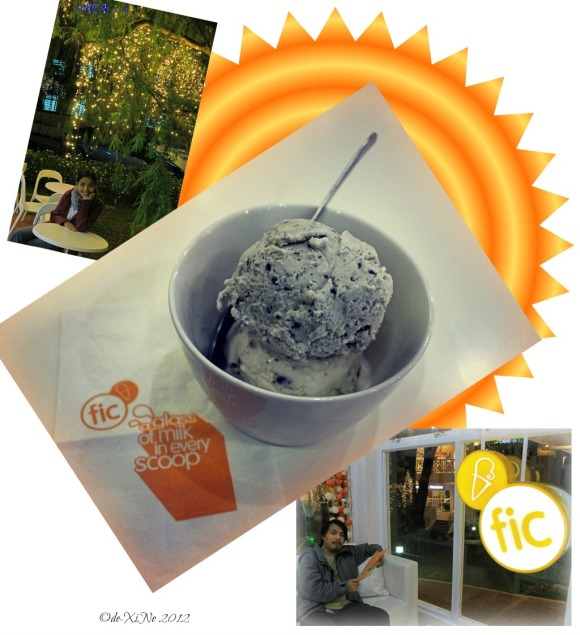 dining at the Fruits in Ice Cream summer cafe