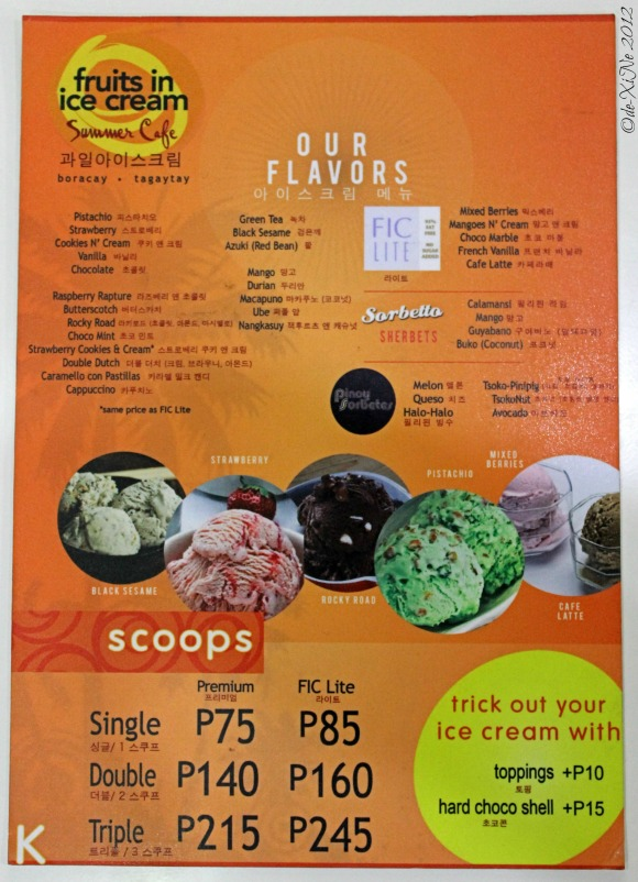 Fruits in Ice Cream menu