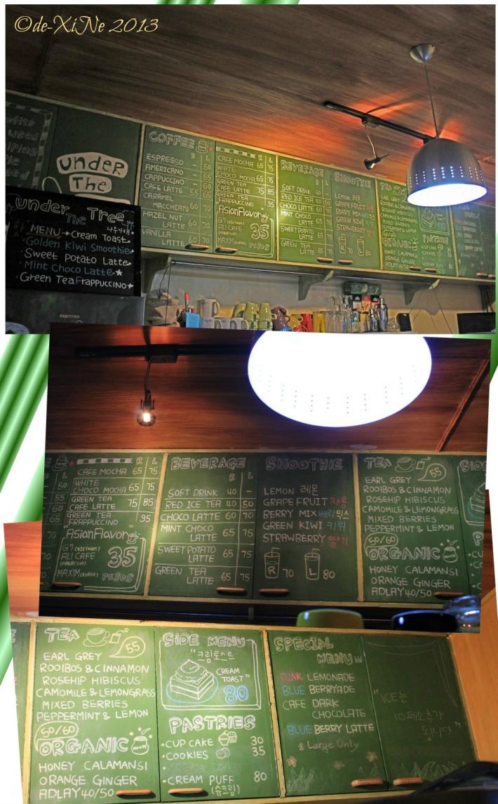 Under the Tree Book Cafe menu