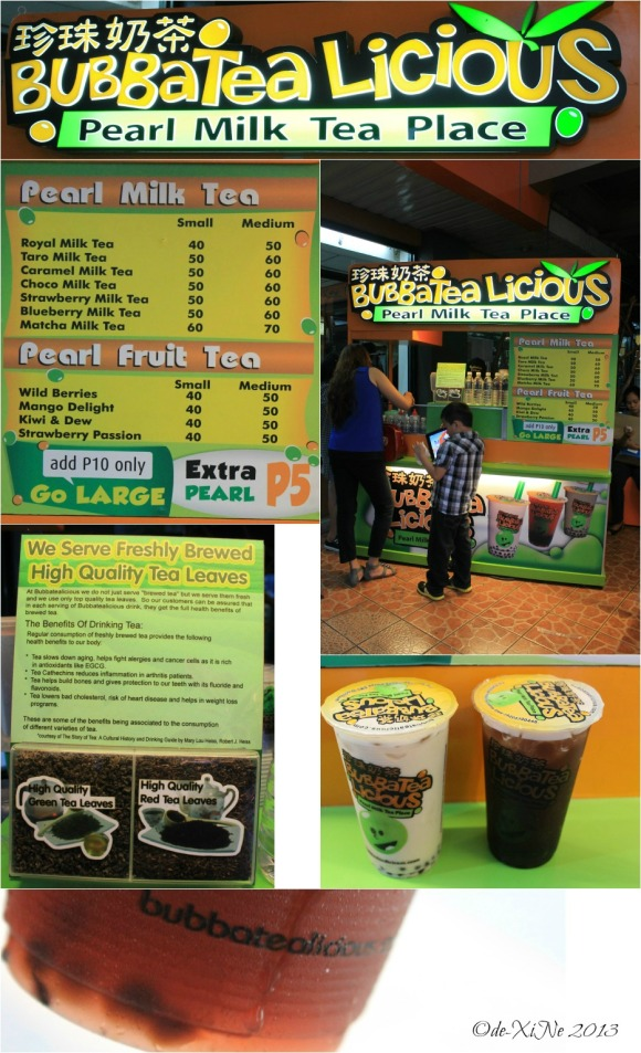 Bubbatea Licious booth, menu and beverages