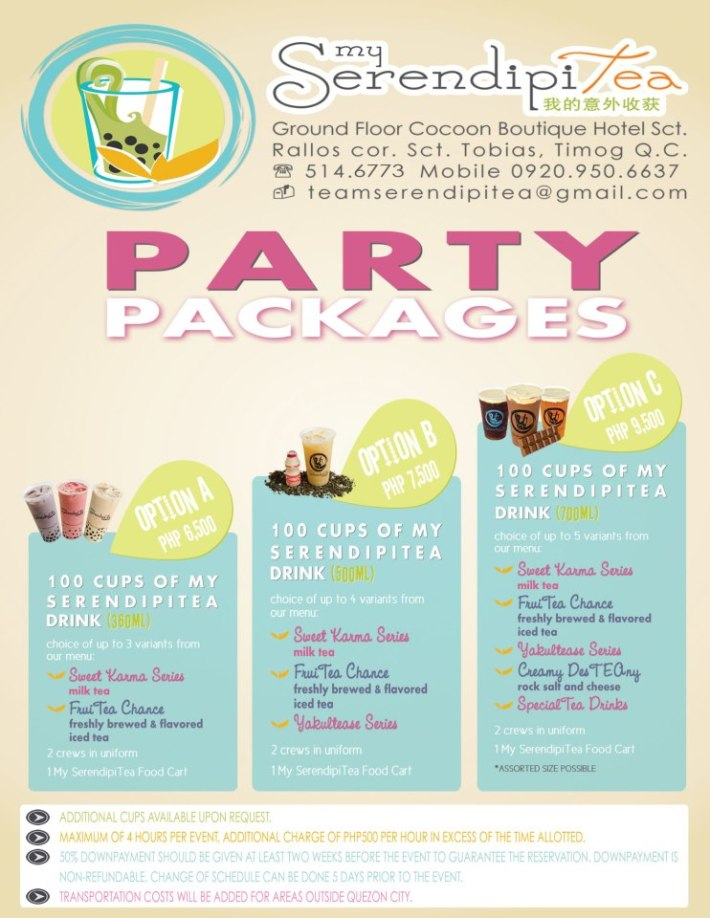 My Serendipitea Party Packages