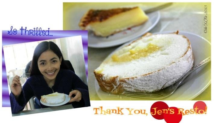 Having brazo de mercedes and egg pie at Jen's Restaurant