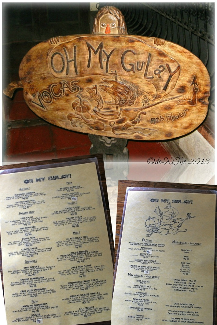Oh My Gulay (OMG) sign and menu