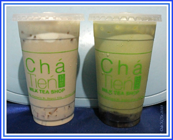 Cha Tien ice cream special milk tea and rock salt and cheese green matcha with red beans