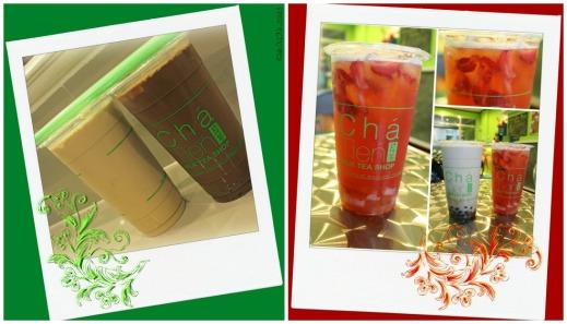 Cha Tien Milk Tea Shop milk tea, chocolate banana milk tea, strawberry fruit tea and ice cream special milk tea