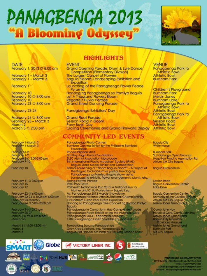 Panagbenga 2013 schedule