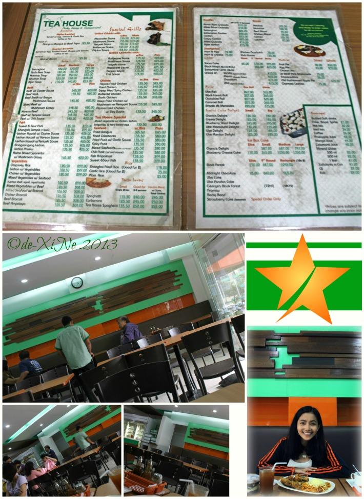 Tea House menu and scene