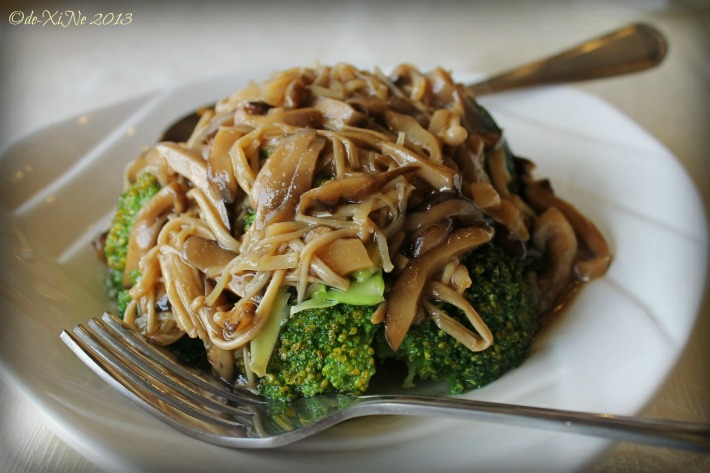 Fortune (Hong Kong) Seafood Restaurant broccoli flower with golden mushrooms and dried scallop