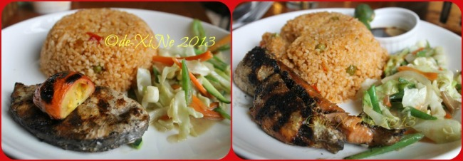 Pizza Volante Ayala Technohub CJH grilled tanguigi fish steak and grilled salmon belly