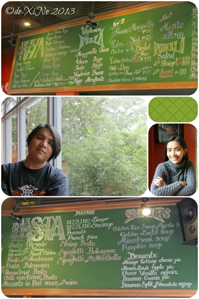 Pizza Volante Ayala Technohub CJH blackboard menu and us.