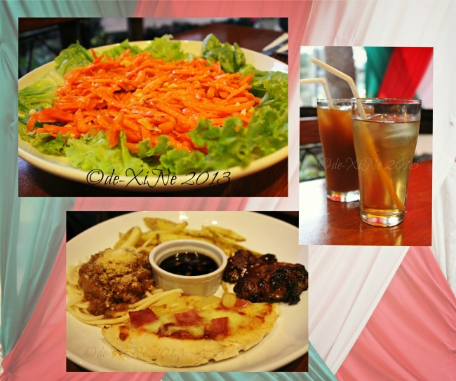 Pizza Volante Wright Park carrot salad, combo meal 1 pasta and chicken, iced tea and iced ginseng.