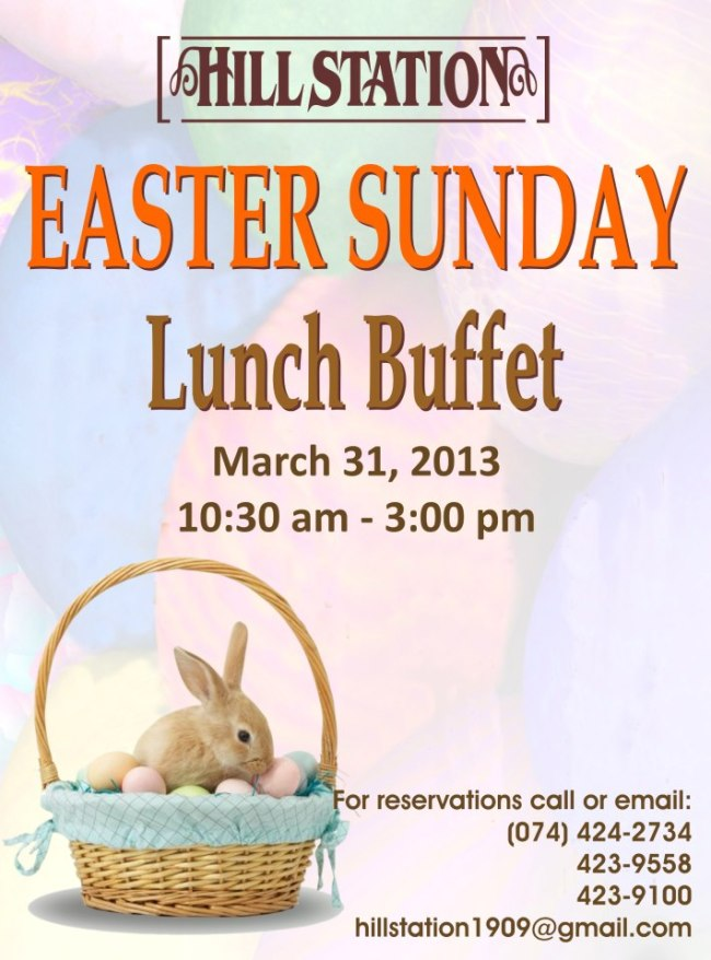 Hill Station Easter Sunday lunch buffet invite