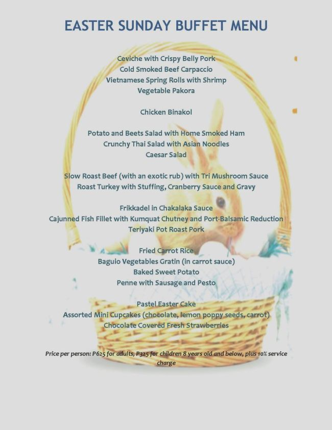 Hill Station Easter Sunday lunch buffet menu