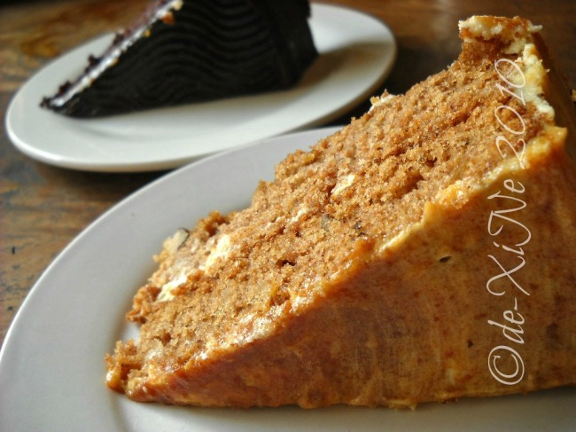 Ebai's Cafe and Pastry chocolate cake and apple walnut cake