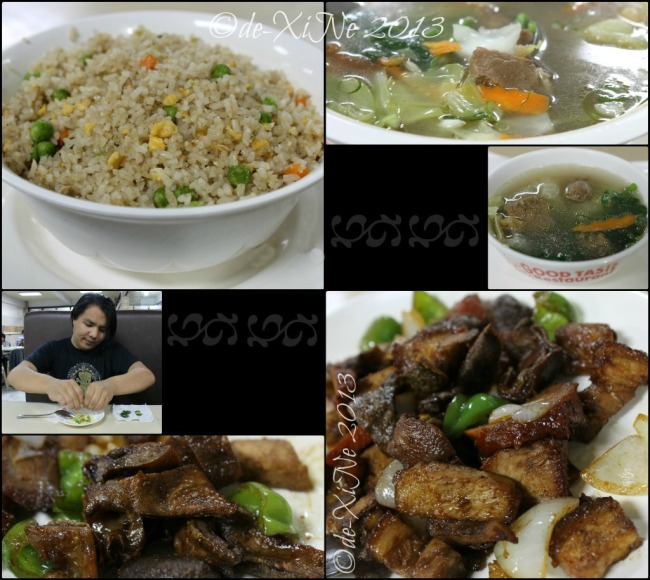 Good Taste fried rice good for three, beef vegetable soup, mixed pulutan and Race on dip duty