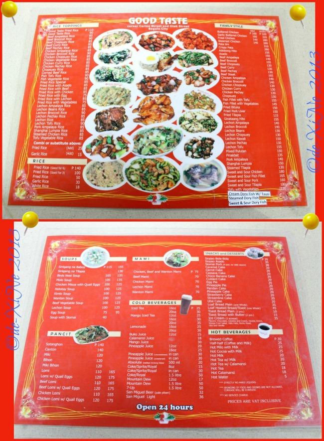 Good Taste menu