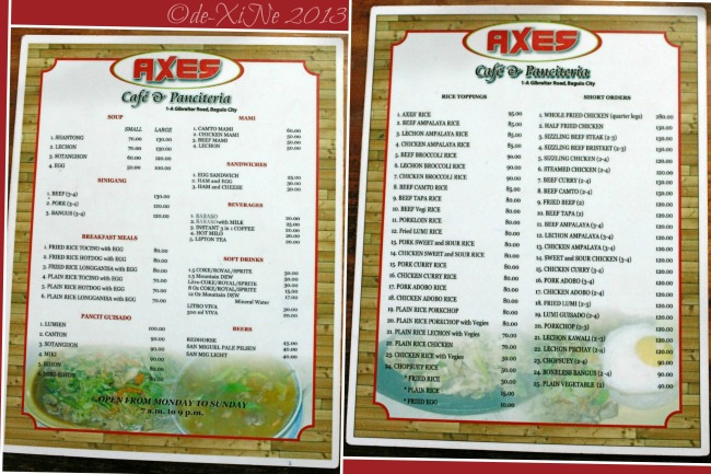 Axes Cafe and Panciteria menu