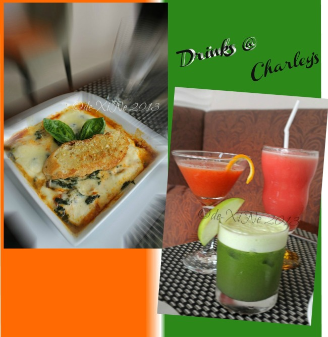 C Boutique Hotel spinach and mushroom lasagna and Charley's health mix drinks and a watermelon shake