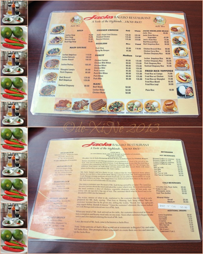 Jack's (Glasshouse) Restaurant menu