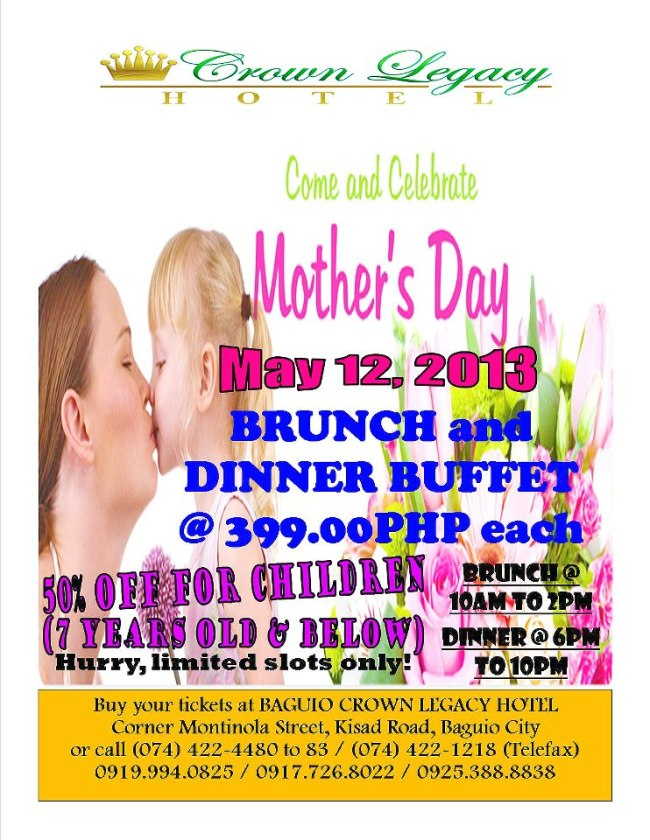 Crown Legacy Hotel mother's day specials