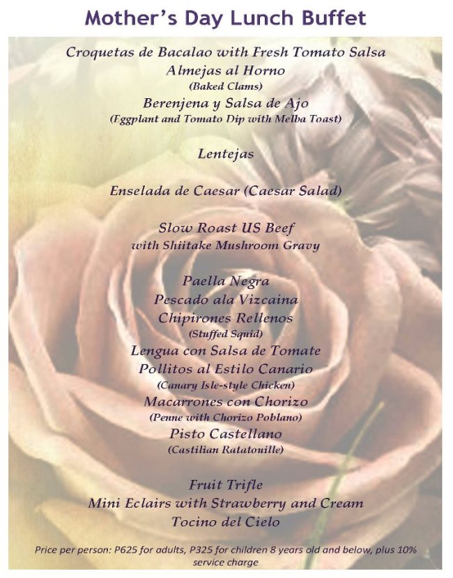 Hill Station mother's day lunch buffet menu