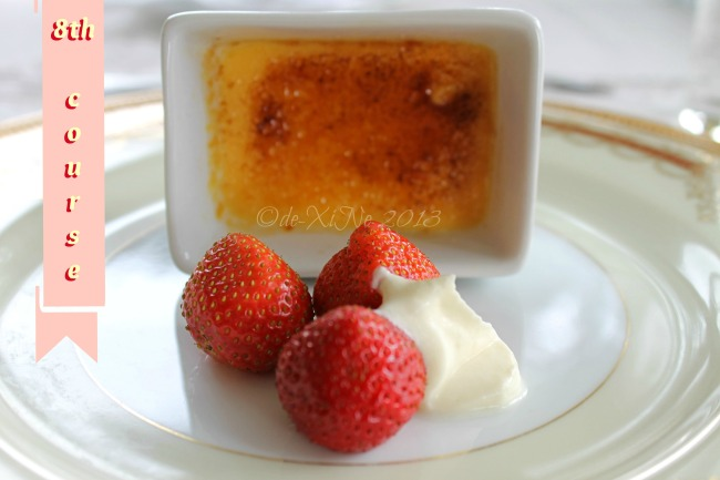 Mama's Table dessert creme brulee with strawberries and chantilly cream
