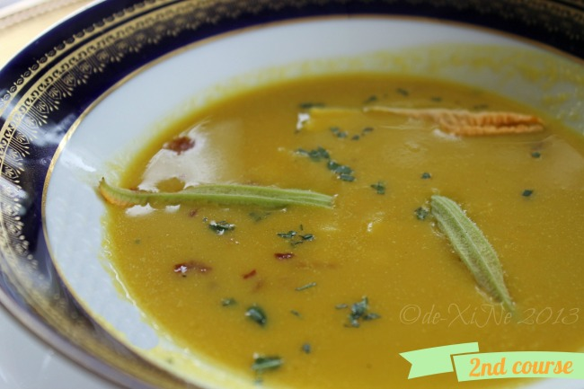 Mama's Table soup squash and singkamas soup with caramelized pumpkin seeds and fresh tarragon