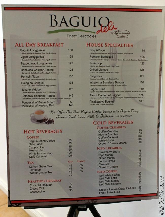 Baguio Deli menu