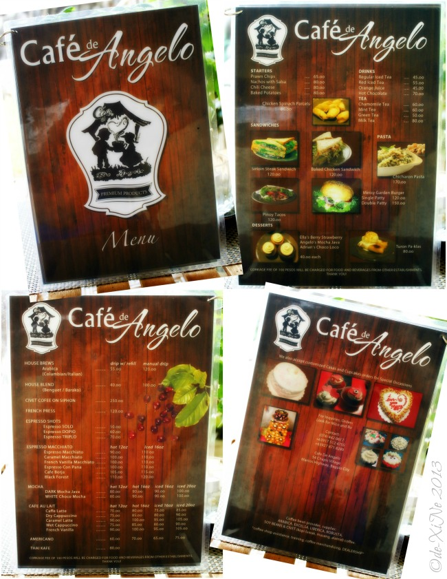 Cafe de Angelo menu