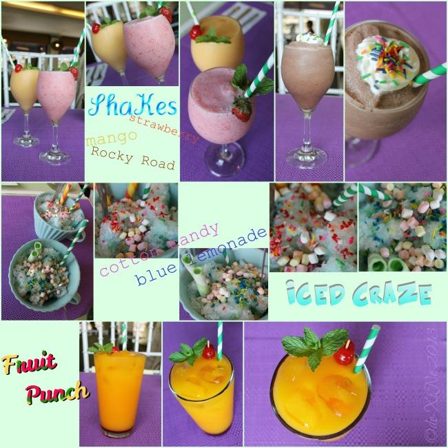 Sage Restaurant beverages - fruit shakes, ice craze, cold drinks