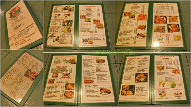 Kubong Sawali menu