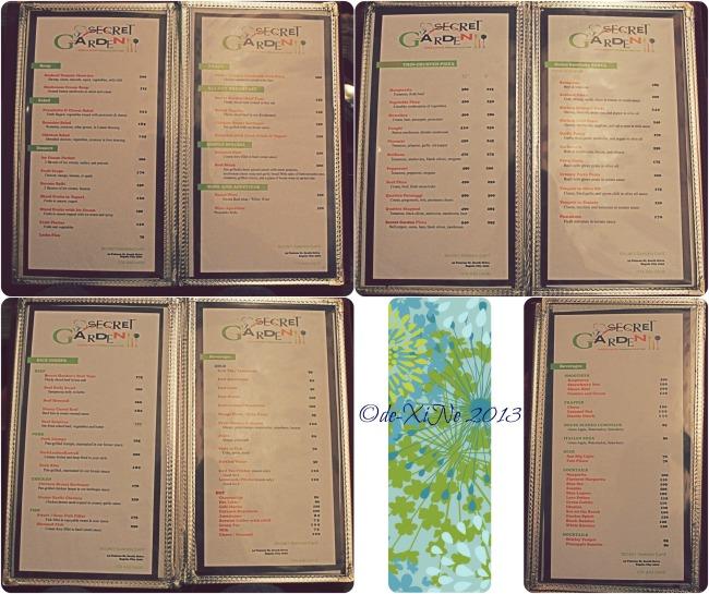 Secret Garden menu