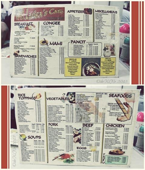 Luisa's Cafe menu