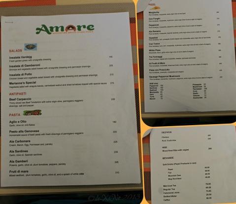 Amare La Cucina menu